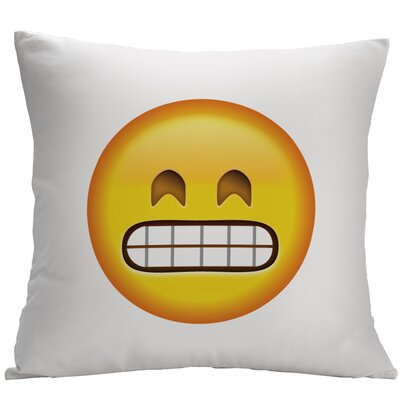 Grimacing Face Emoji Decorative Cushion
