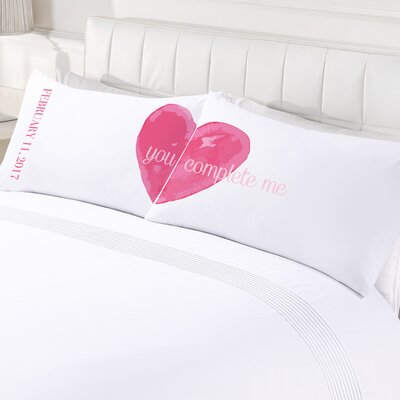 2 Piece Custom You Complete Me Couples Pillowcase Set