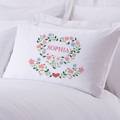 Personalized Sleeping Floral Hearts Pillow Case