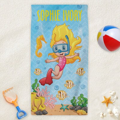 Personalized Snorkeling Kids Beach Towel