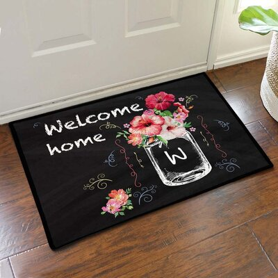 Custom Hibiscus Bouquet Welcome Home Doormat