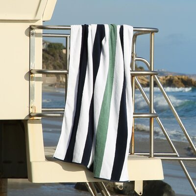 Plush Cabana Beach Towel Color: Midnight Blue / Sea Foam