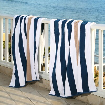 Plush Cabana Beach Towel Color: Ocean Blue / Almond