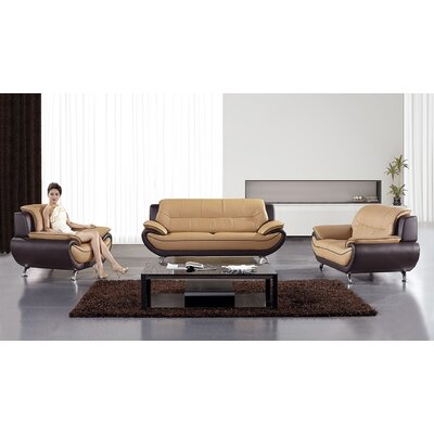 Hennings 3 Piece Living Room Set Color: Yellow/Brown