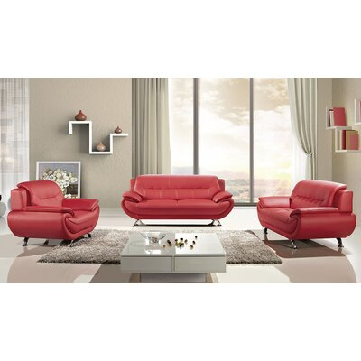 Hennings 3 Piece Living Room Set Color: Red