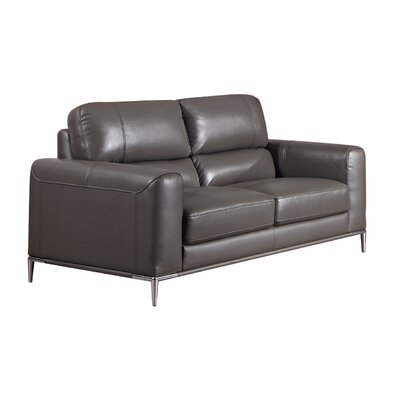 Hennis Leather Loveseat Finish: Taupe