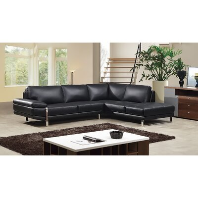 Hennig Sectional Upholstery: Black, Orientation: Right Hand Facing