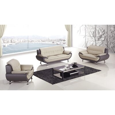 Hennings 3 Piece Living Room Set Color: Light Gray/Dark Grey