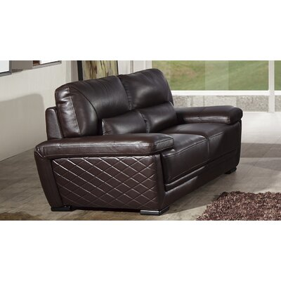 Vigil Leather Loveseat Finish: Dark Brown