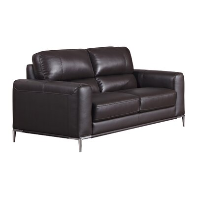 Hennis Leather Loveseat Finish: Dark Chocolate