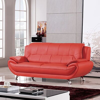 208 Modern Loveseat Upholstery: Red