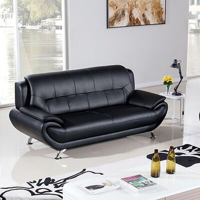 208 Modern Loveseat Upholstery Color: Black