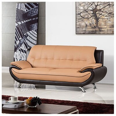 208 Modern Sofa Upholstery: Yellow / Brown