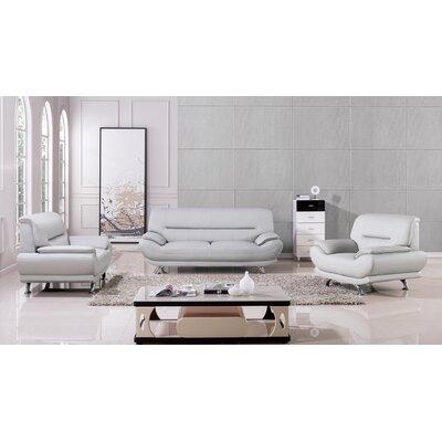 Mason 3 Piece Living Room Set Upholstery: Light Gray