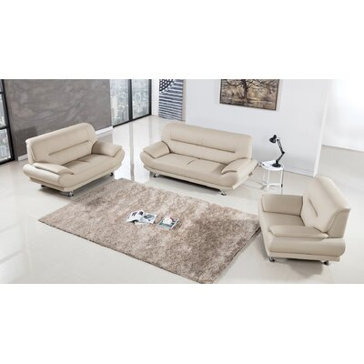 Mason 3 Piece Living Room Set Upholstery: Cream