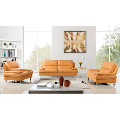 Harrison Leather 3 Piece Living Room Set Upholstery: Yellow