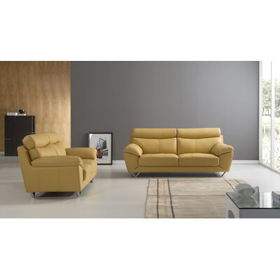 Valencia 2 Piece Leather Living Room Set Upholstery: Yellow
