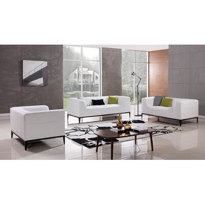 Olivia 3 Piece Living Room Set Upholstery: White