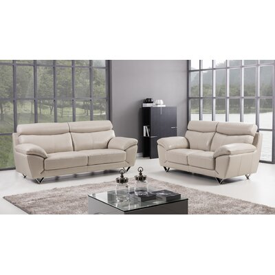 Valencia 2 Piece Leather Living Room Set Upholstery: Light Gray