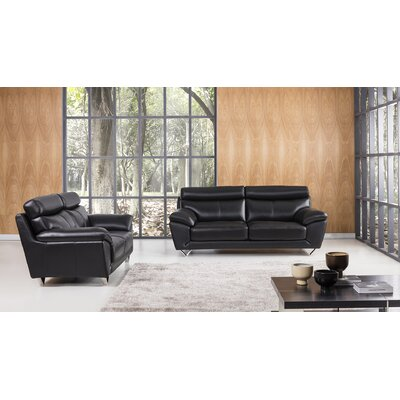 Valencia 2 Piece Leather Living Room Set Upholstery: Black