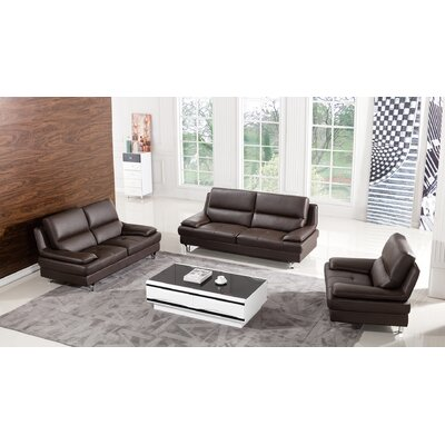 Harrison Leather 3 Piece Living Room Set Upholstery: Dark Chocolate