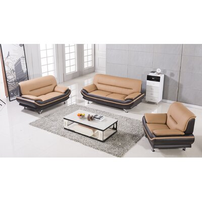 Mason 3 Piece Living Room Set Upholstery: Yellow / Brown