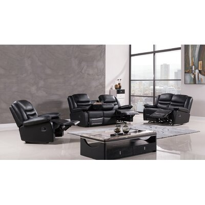 Bayfront 3 Piece Living Room Set Upholstery: Black