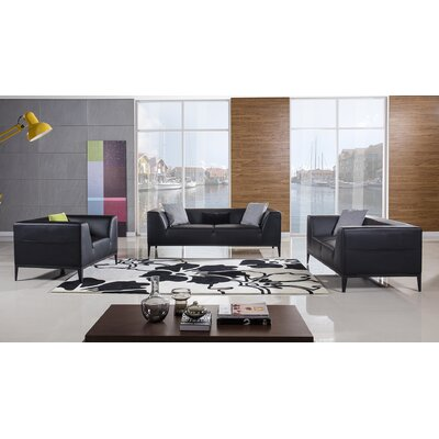 Olivia 3 Piece Living Room Set Upholstery: Black