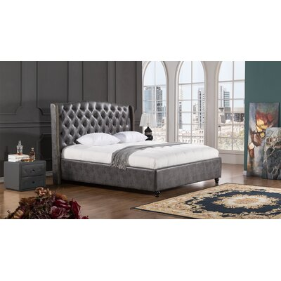 Drake Upholstered Platform Bed Size: King, Color: Dark Gray