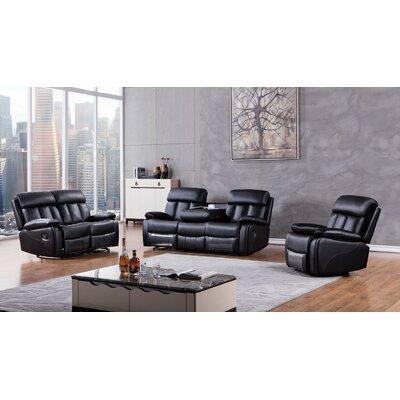 Dunbar 3 Piece Living Room Set Upholstery: Black