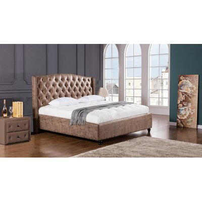Drake Upholstered Platform Bed Size: King, Color: Brown