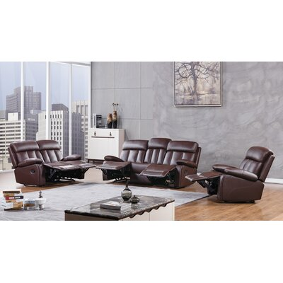 Dunbar 3 Piece Living Room Set Upholstery: Dark Brown