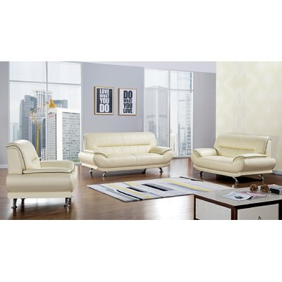 Arcadia 3 Piece Leather Living Room Set Upholstery: Ivory