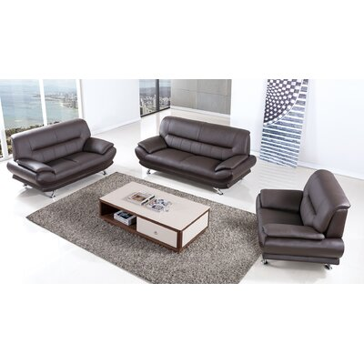 Arcadia Leather 3 Piece Living Room Set Upholstery: Dark Chocolate