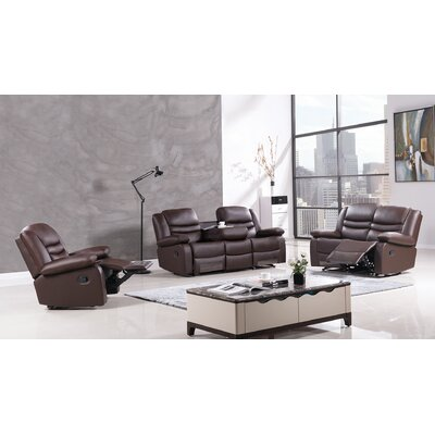 Bayfront 3 Piece Living Room Set Upholstery: Dark Brown