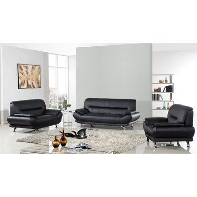 Arcadia Leather 3 Piece Living Room Set Upholstery: Black