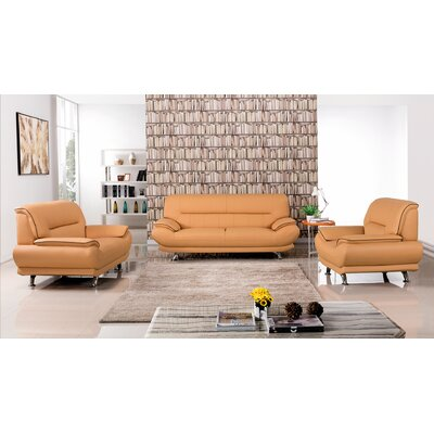 Arcadia 3 Piece Leather Living Room Set Upholstery: Yellow