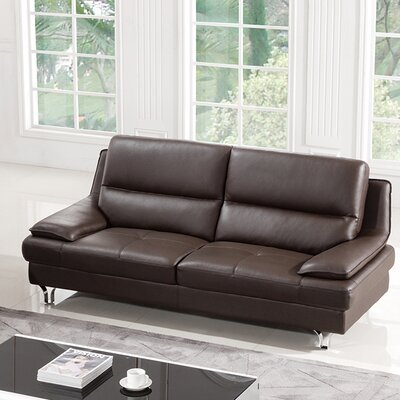 Harrison Leather Sofa Upholstery: Dark Chocolate