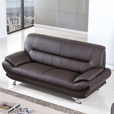 Arcadia Leather Sofa Upholstery: Dark Chocolate