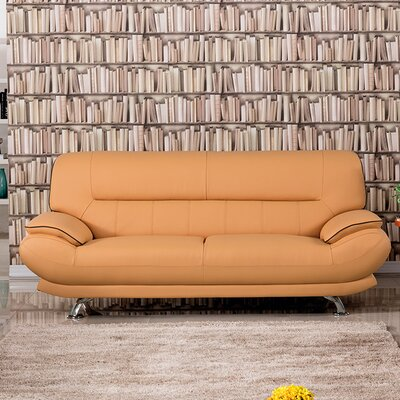 Arcadia Leather Sofa Upholstery: Orange