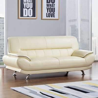 Arcadia Leather Sofa Upholstery: Ivory
