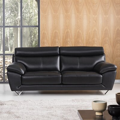 Valencia Leather Sofa Upholstery: Black
