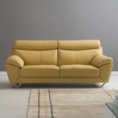 Valencia Leather Sofa Upholstery: Yellow