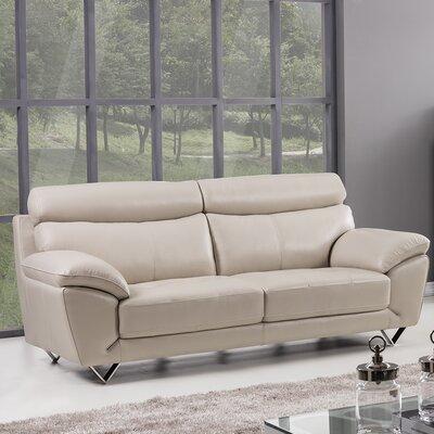 Valencia Leather Sofa Upholstery: Light Gray