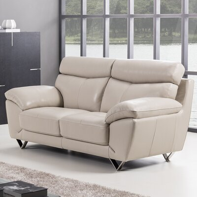 Valencia Leather Loveseat Upholstery: Light Gray