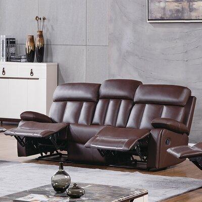 Dunbar Reclining Sofa Upholstery: Dark Brown