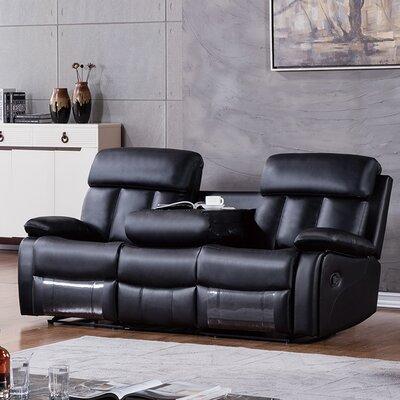 Dunbar Reclining Sofa Upholstery: Black