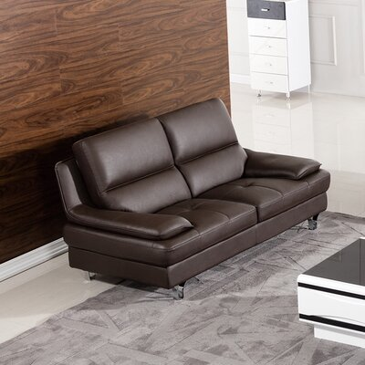 Harrison Leather Loveseat Upholstery: Dark Chocolate