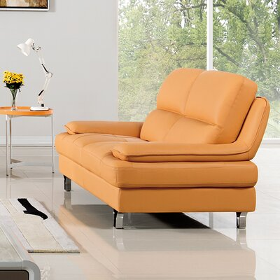 Harrison Leather Loveseat Upholstery: Yellow