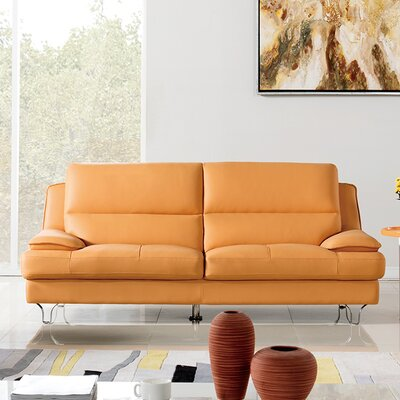 Harrison Leather Sofa Upholstery: Yellow